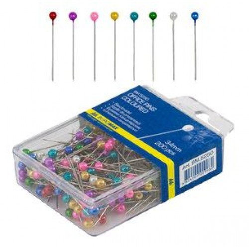 Шпильки BUROMAX 5250 цветные 200шт 34мм пластик. контейнер (1/10/400)