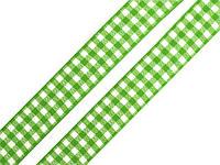 Лента клетчатая зеленая 22мм