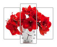 Красивые настенные часы на кухню модульные Маки в вазе 30x60 30x75 30x60 см