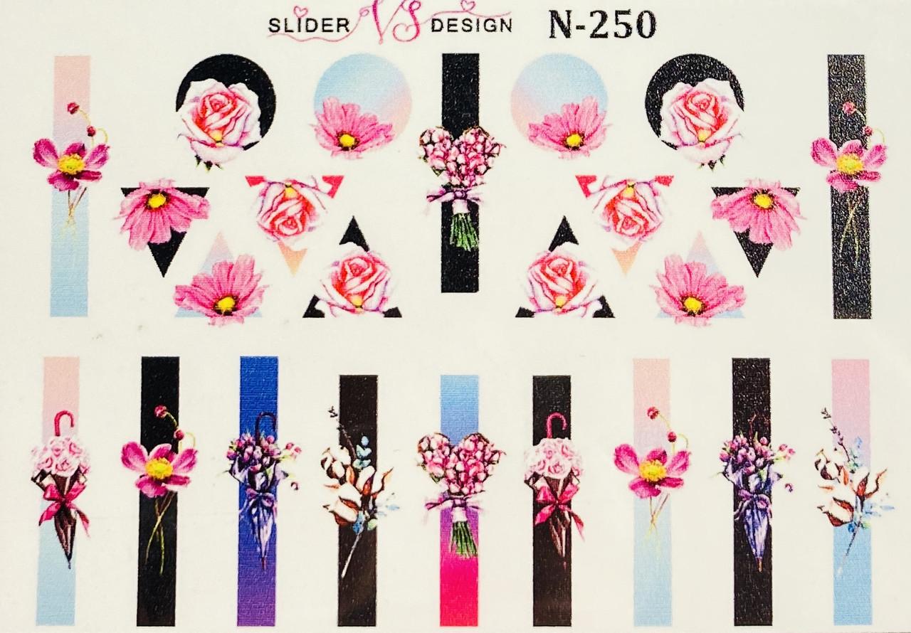 Наклейки слайдеры  для дизайна ногтей на водной основе N-250