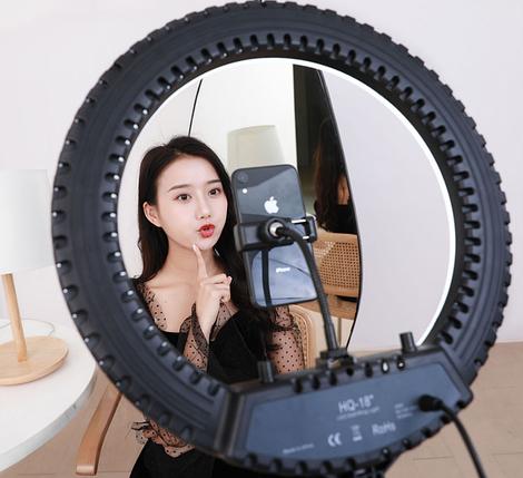 Профессиональная кольцевая лампа 45 см. диаметр LED Soft Ring Light HQ-18 с+штатив (200см), фото 2