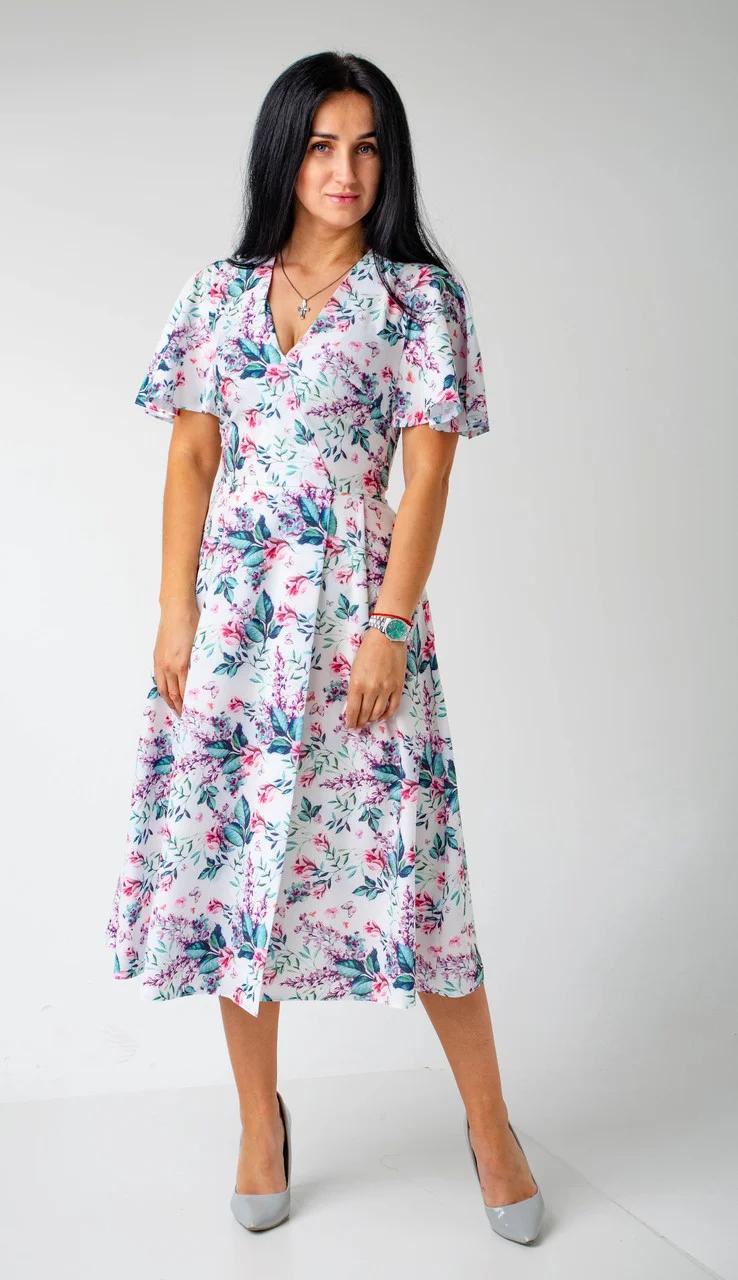 Платье женское на запах с коротким рукавом крылышком