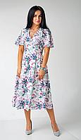Платье женское на запах с коротким рукавом крылышком, фото 1