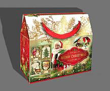 Упаковка праздничная новогодняя из металлизированного картона Merry Christmas, до 1 кг, от 1 ящика