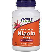 """Ніацин NOW Foods """"Niacin"""" без почервонінь, 250 мг (180 капсул)"""