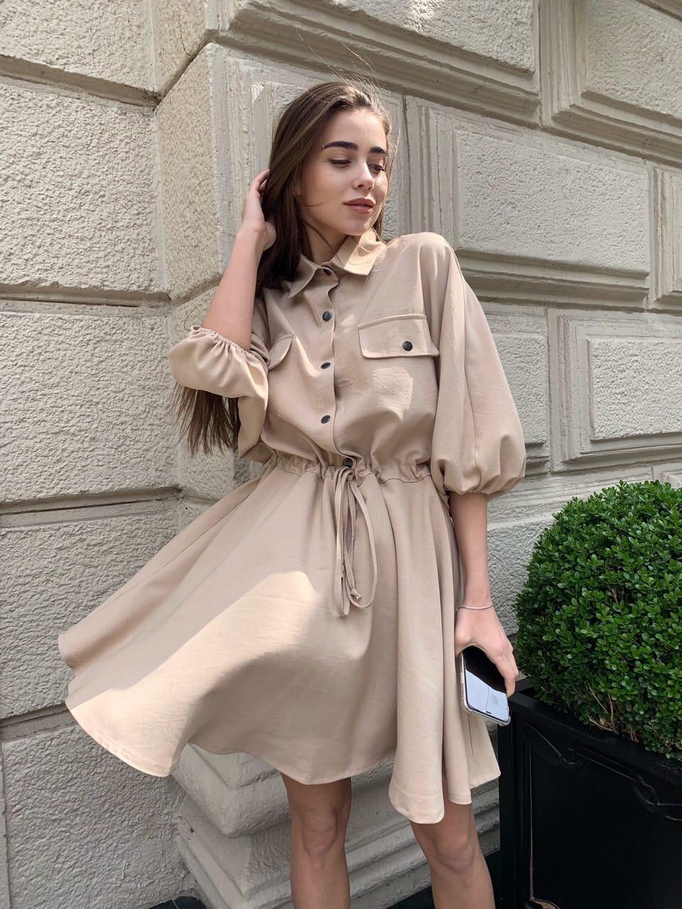 Льняное платье - рубашка с кулиской на талии и свободным верхом 16031351