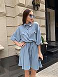 Льняное платье - рубашка с кулиской на талии и свободным верхом 16031351, фото 2