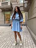 Льняное платье - рубашка с кулиской на талии и свободным верхом 16031351, фото 3