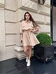 Льняное платье - рубашка с кулиской на талии и свободным верхом 16031351, фото 4