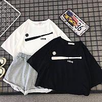 Женский летний костюм с футболкой и шортами с подворотами 6810893, фото 1