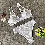Серебряный женский купальник раздельный с высокой посадкой плавок 4825478, фото 3