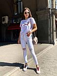 Белые женские джинсы скинни с разрезами на коленках 4812488, фото 2