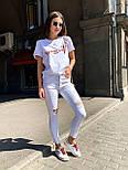 Белые женские джинсы скинни с разрезами на коленках 4812488, фото 3