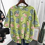 Женская широкая летняя футболка с рисунком авокадо 7717333, фото 2