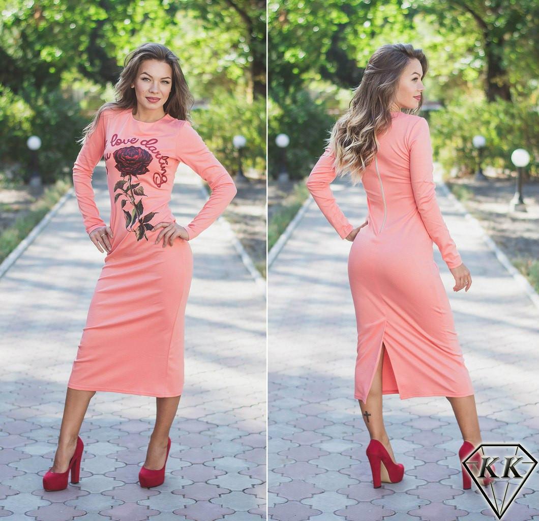 Персиковое платье с розой