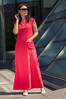 Летнее платье из льна  из льна  цвет: коралл, размер: 44, 46, 48, 50, 52