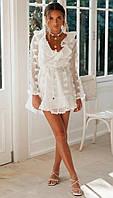 Белое шифоновое короткое платье с вырезом декольте и длинным рукавом 68PL1368