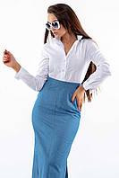 Универсальная повседневно-офисная белая женская рубашка (Дана ri)
