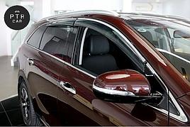 Дефлекторы окон (ветровики) с хром накладкой  Mercedes S-klasse W-221 2005-2013 long База 4D хром 4шт (HIC)