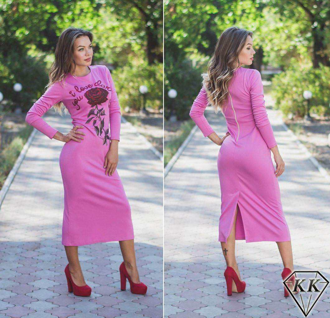 Розовое платье с розой