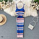 Короткое разноцветное платье из машинной вязки рубчик на бретелях 77py1344, фото 5