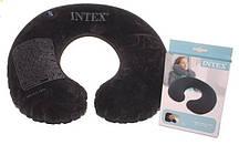 Подушка - подголовник Intex, надувная,черная,велюр 33-25-8см