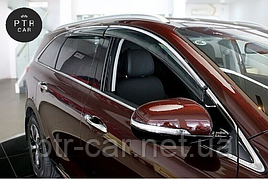 Дефлекторы окон (ветровики) с хром накладкой  Mercedes E-klasse W-213 2016-> Sedan 4D хром 4шт (HIC)