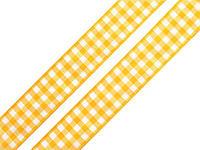 Лента клетчатая желтая 22мм