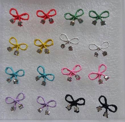 """Сережки-гвоздики """"Бантик"""" / ціна за пару, фото 2"""