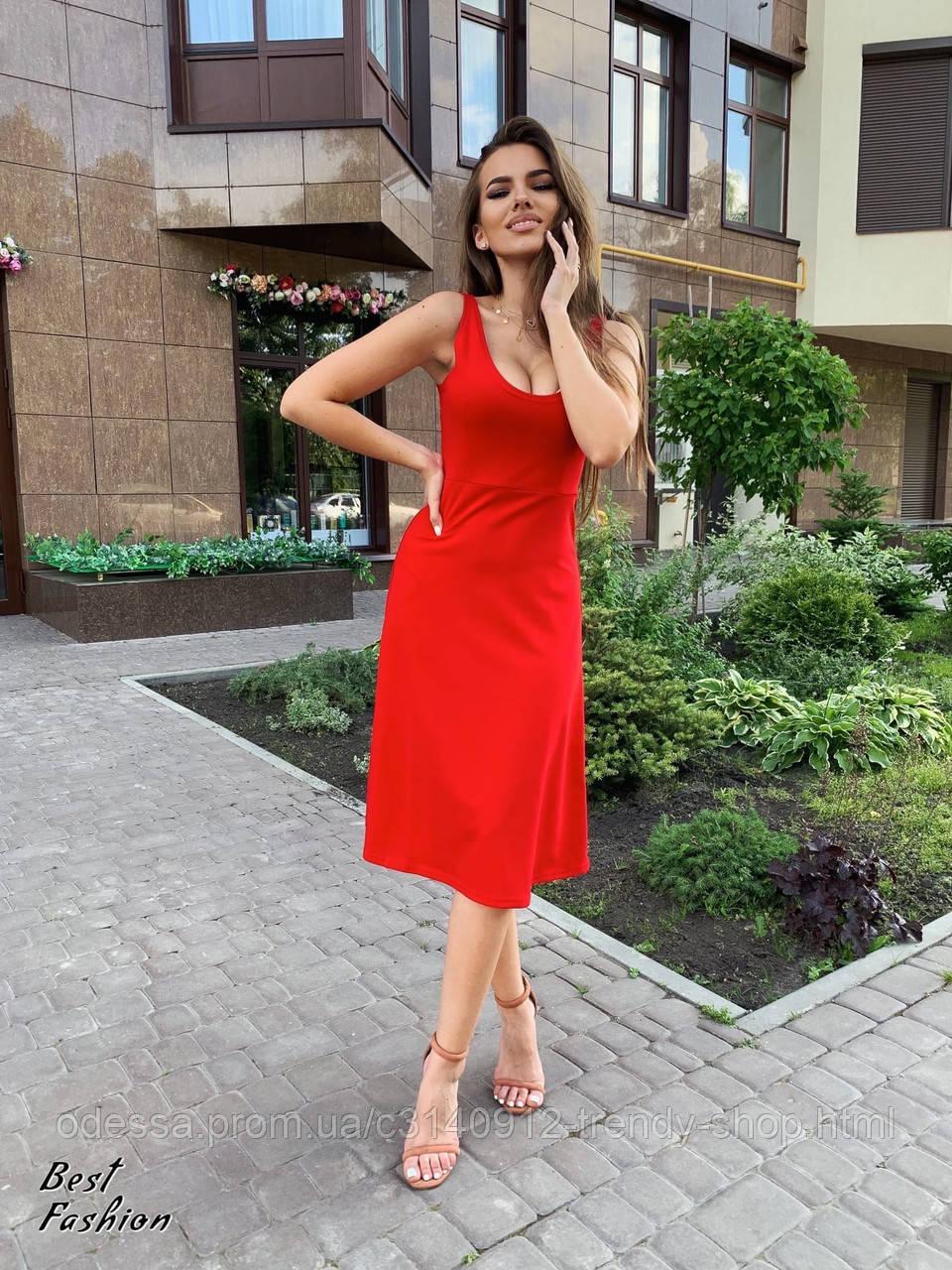 Платье женские летнее миди красное, чёрное, пудра 42-44, 44-46
