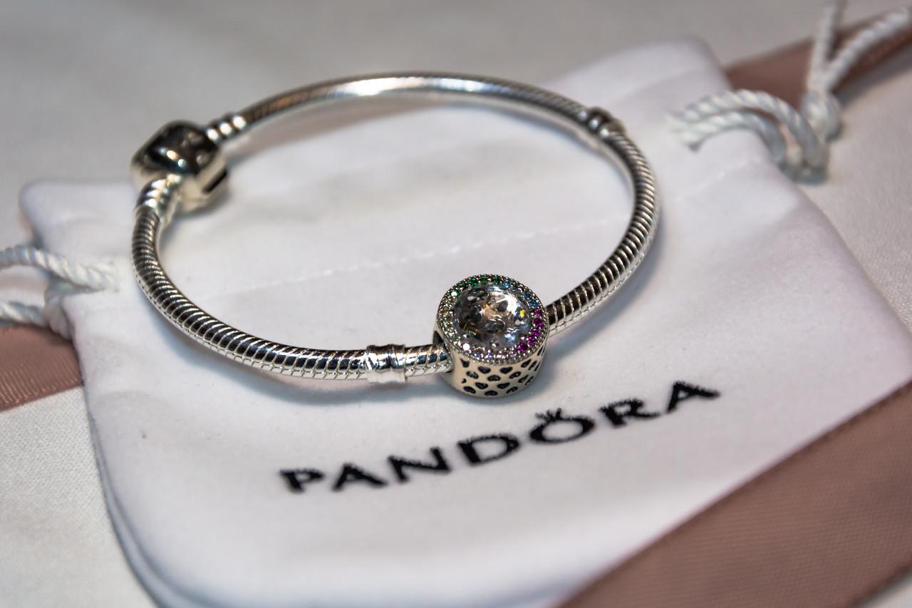Бусина шарм радуга подвеска для браслета Pandora Пандора серебряная