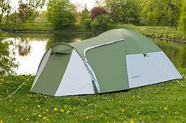 Туристическая палатка 4-х местная Monsun Pro 4, клеенные швы, зеленая, фото 2