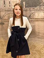 Платье школьное- пуговка (синее-20)