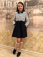 Платье школьное- Парижанка крупный горох (синее-20)
