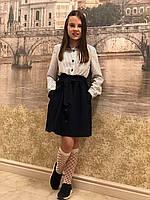 Платье школьное- Парижанка мелкий горох (синее-20)