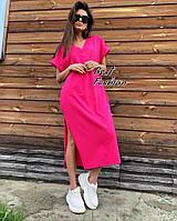 Стильное женское платье миди с разрезом  на лето 42-44,46-48