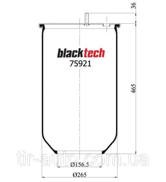 Пневмоподушка SAF без стакана ( 2 шпильки + воздух ) ( BLACKTECH ) RML 75921