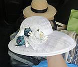 Белая летняя широкополая шляпа из соломки синамей поля 12 см размер 55-59, фото 2