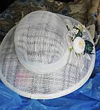 Белая летняя широкополая шляпа из соломки синамей поля 12 см размер 55-59, фото 3