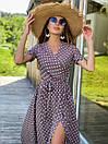 Длинное летнее платье в горошек на запах с коротким рукавом 36plt1372, фото 3