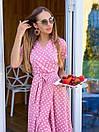 Длинное летнее платье в горошек на запах с коротким рукавом 36plt1372, фото 4