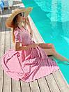 Длинное летнее платье в горошек на запах с коротким рукавом 36plt1372, фото 5