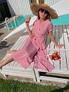 Длинное летнее платье в горошек на запах с коротким рукавом 36plt1372, фото 6