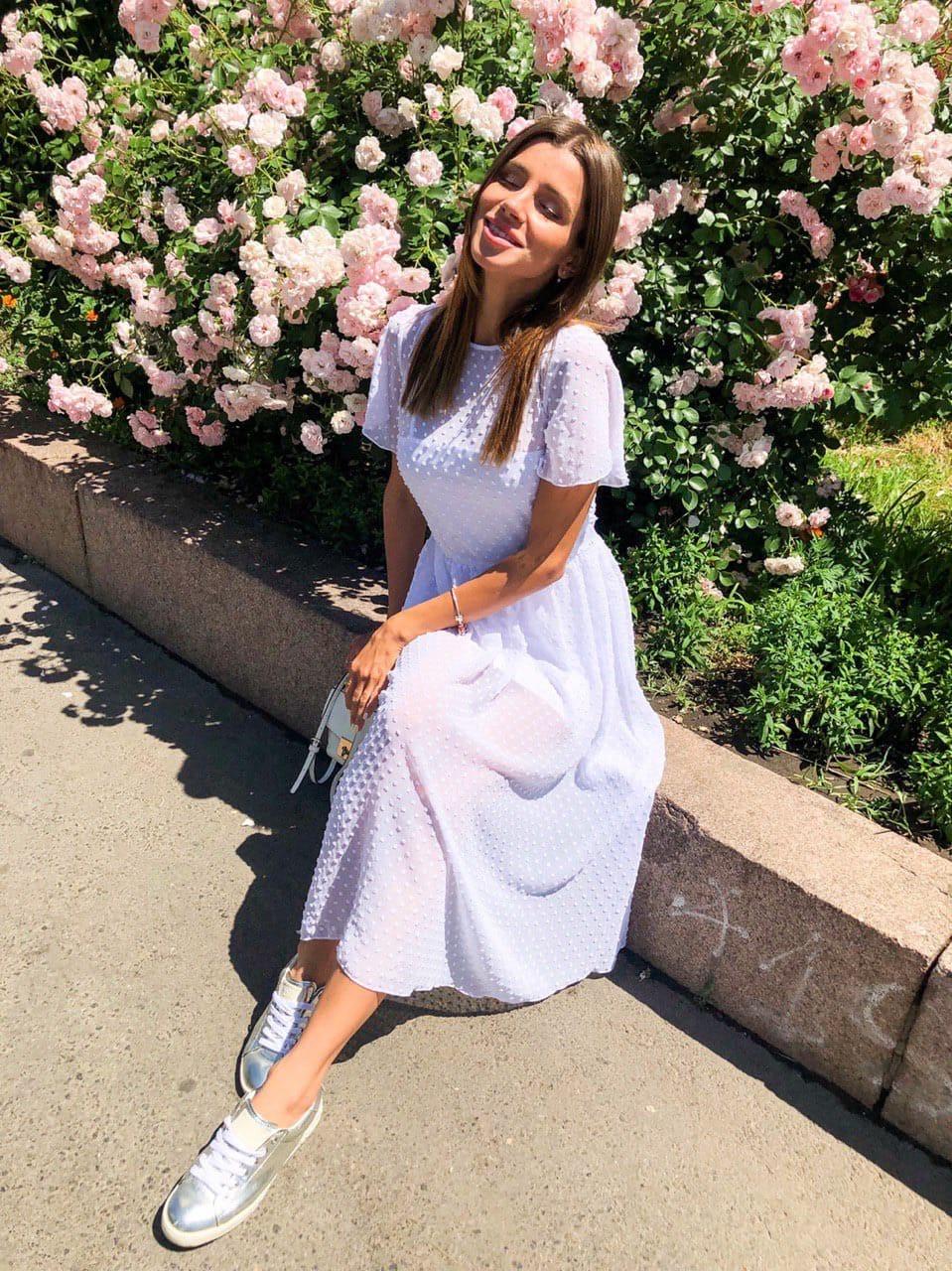 Шифоновое летнее платье с расклешенной юбкой и коротким рукавом 36plt1373