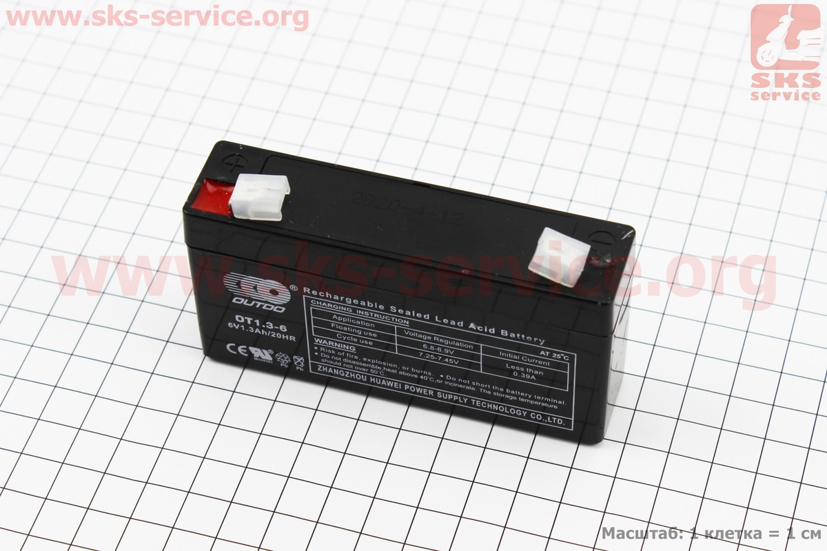 Аккумулятор OT1,3-6 - 6V1,3Ah (L97*W24*H51mm) для ИБП, игрушек и др., 2020