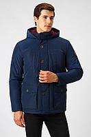 Мужская демисезонная куртка с капюшоном темно-синяя Finn Flare A18-22009-101