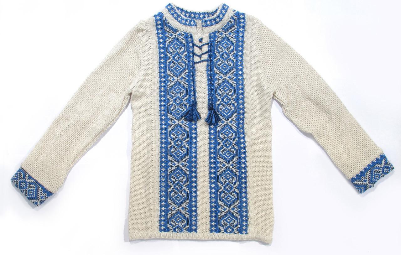 Вязаная вышиванка для мальчика - Голубой Орнамент