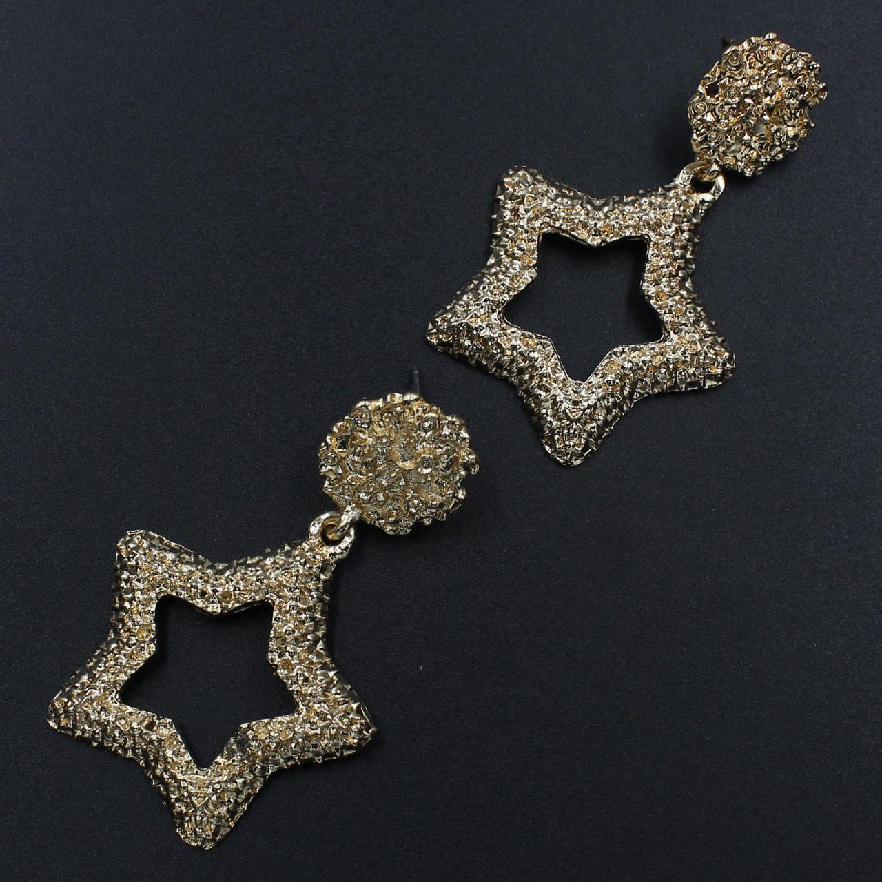 Женские серьги  60х35 мм в стиле Zara золотые