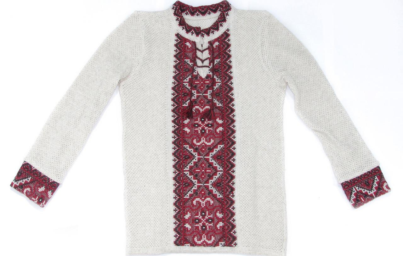Вязаная вышиванка для мальчика - Зигзаги