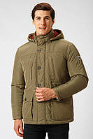 Мужская демисезонная куртка с капюшоном зеленая Finn Flare A18-22009-900